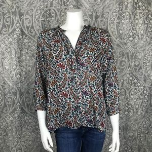 Zara Basic Cream Mini Floral Split Neck Blouse XL